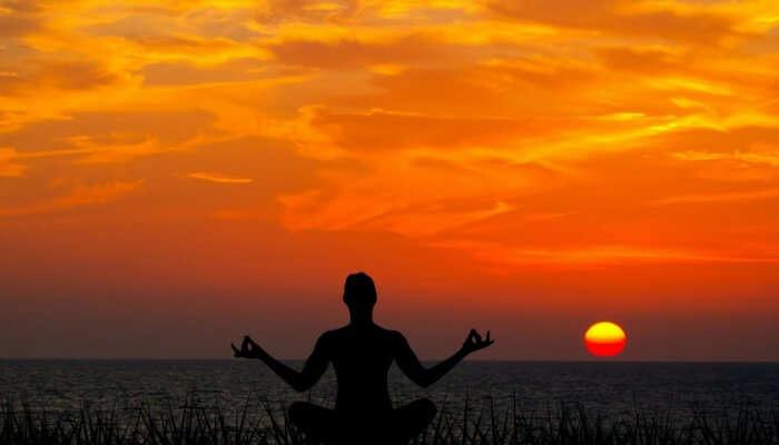 silhouette of a yogi
