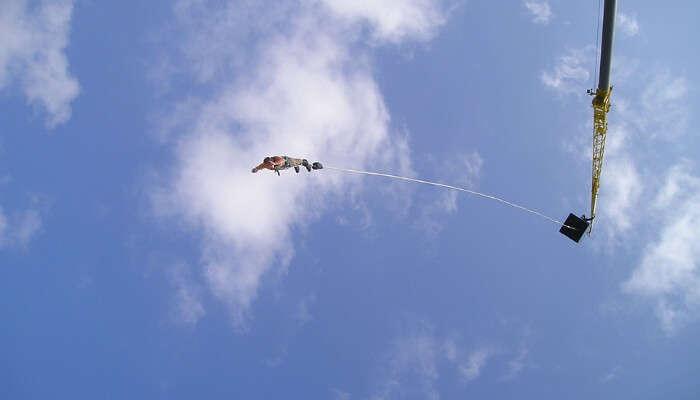 A Man Bungee Jumping