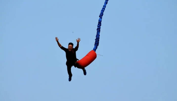 Enjoying Bungee Jumping