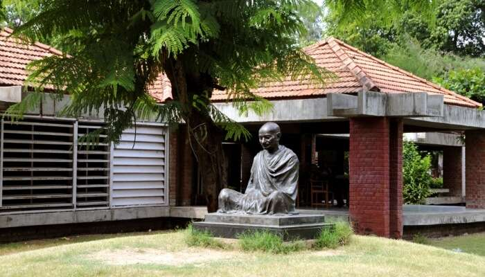 statue of Gandhi outside a museum