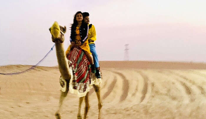enjoying the camel ride