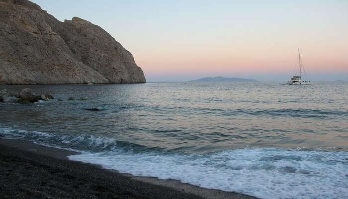 Perissa Beach In Greece
