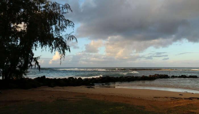 evening shot of a beach
