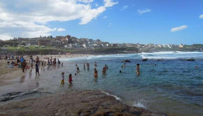 people bathing in a beach