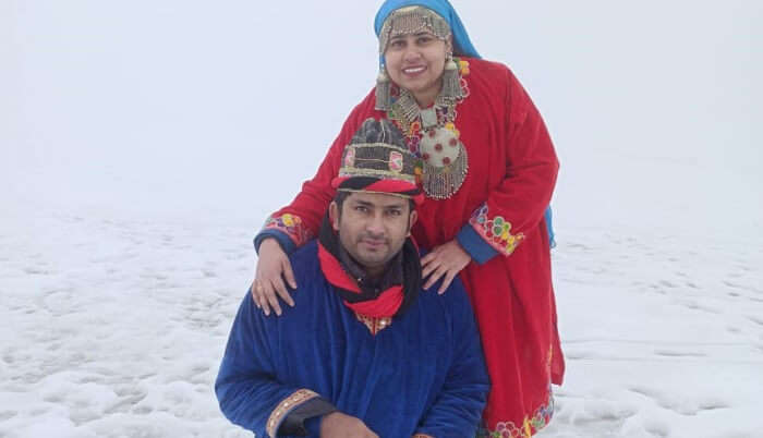 in a traditional dresses of kashmiri