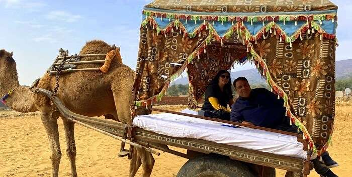 enjoying the camel ride