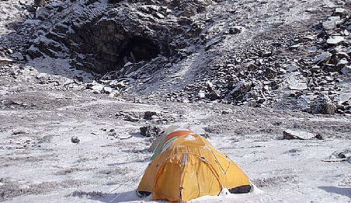 Camping on the  mountain peak