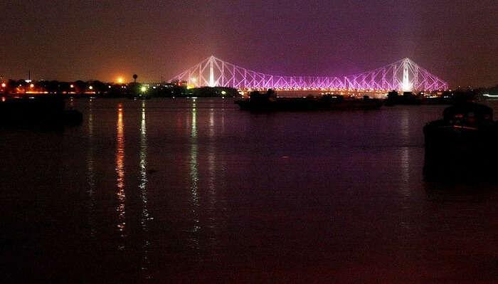 ferry ride at night in kolkata