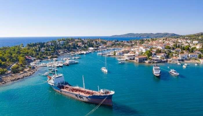 Tanker in Mpaltizas Port on Spetses, Greece
