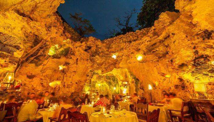 taste the dishes at the Cave Restaurant