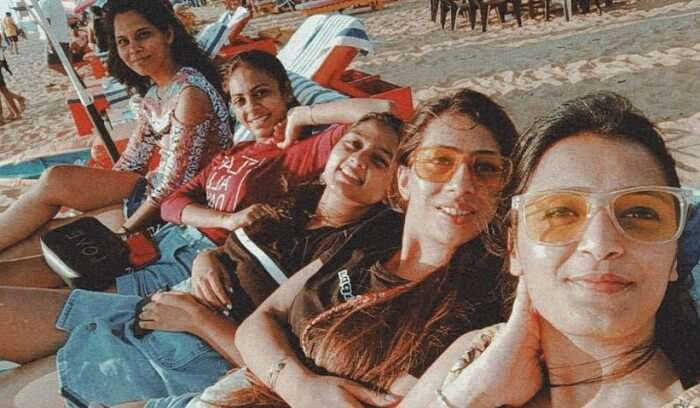 taking sunbath with friends