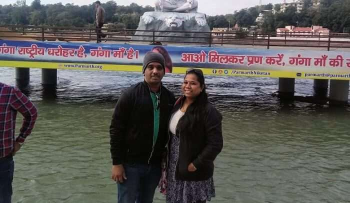 gameshan exploring rishikesh with his wife