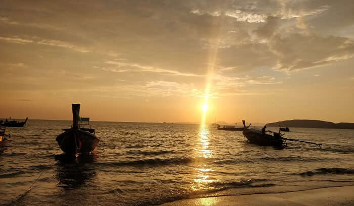 sunset view at the island