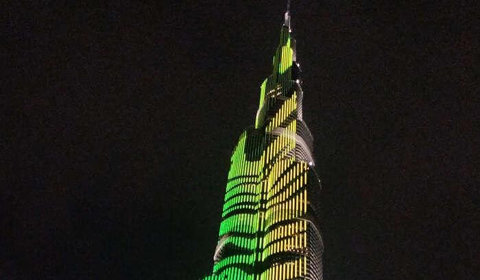 view of the burj Khalifa at night