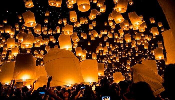The people of the country release lanterns into the night sky of Taiwan
