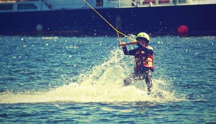 water skiing on diu coast