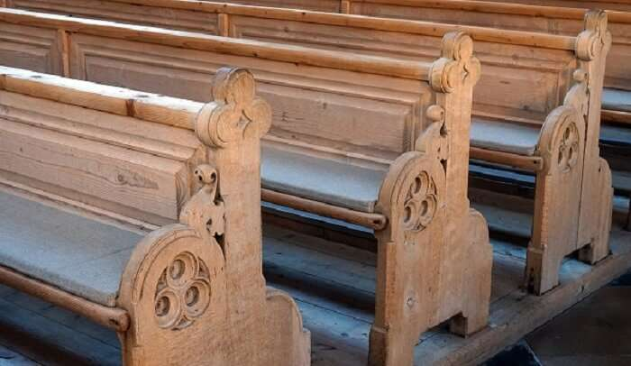 sitting bench in the church