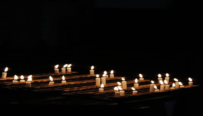 votive candles in the church